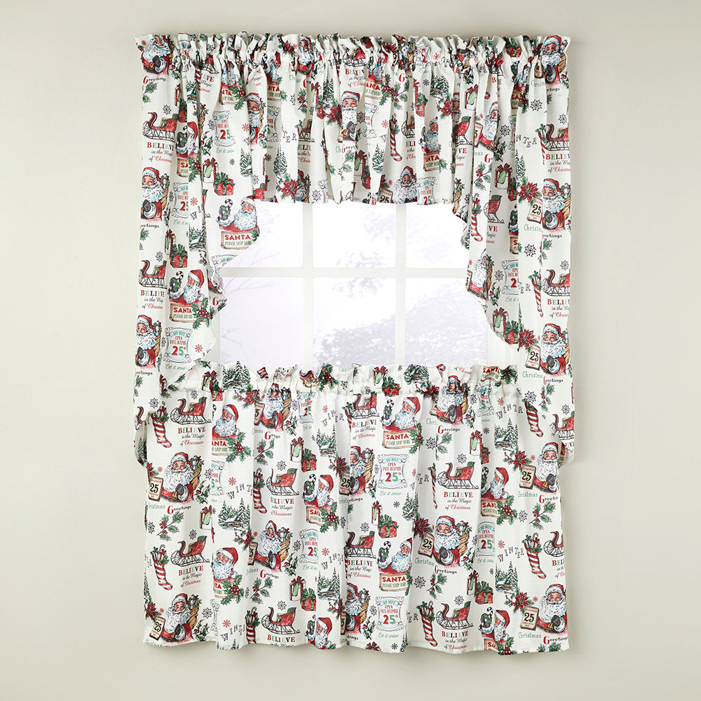 Santa Klaus Kitchen Tiers, Swags and Valance