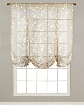 Taupe Savannah Sheer Tie Up Curtain hanging on a decorative rod
