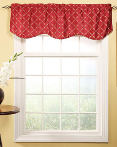 Savoy Scalloped Valance hanging on a decorative rod