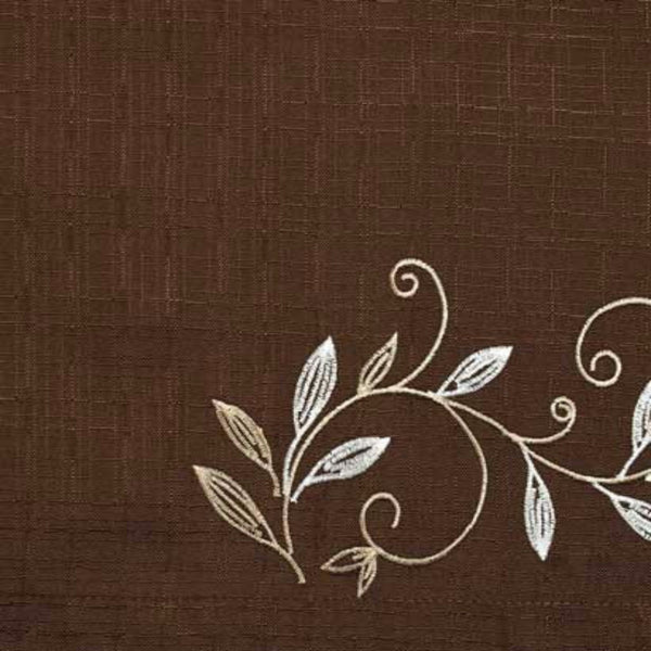 Closeup of Mocha Scroll Leaf Tier & Valance fabric and design