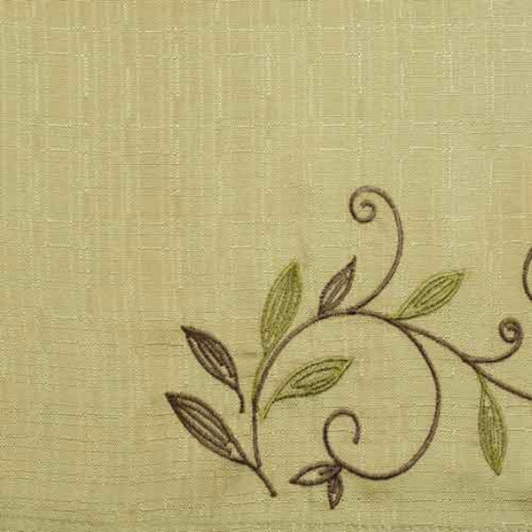 Closeup of Sage Scroll Leaf Tier & Valance fabric and design