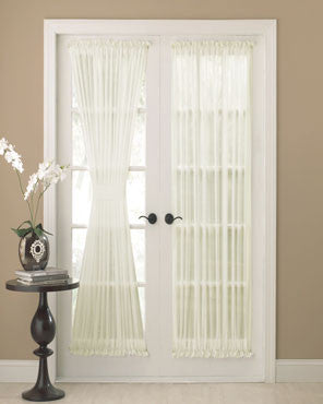 Sea Glass Semi Sheer Door Panel hanging on a french door