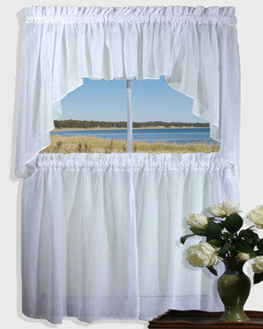 White Sea Glass Kitchen Valance, Swags, and Tier Curtains hanging on a curtain rod