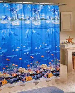 Sea Life Vinyl Shower Curtain hanging on shower rod