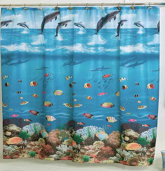 Close up shot of Blue Seascape Fabric Shower Curtain fabric