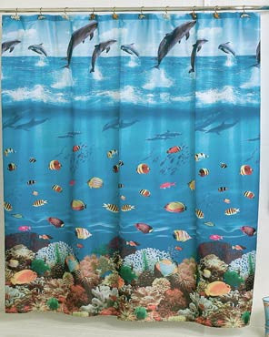 Blue Seascape Fabric Shower Curtain hanging on a shower curtain rod