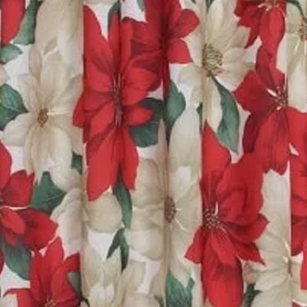 Clsoeup of Euro Seasonal Floral Poinsettia Kitchen Valance and Tier Curtain Set fabric