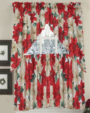 Euro Seasonal Floral Poinsettia Kitchen Valance and Tier Curtain Set hanging on a curtain rod