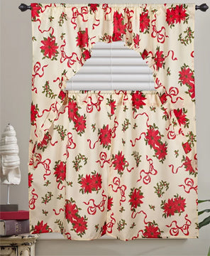 ivory Euro Seasonal Poinsettia Kitchen Curtain Set