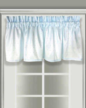 Serene Mist Absolute Valance hanging on a curtain rod