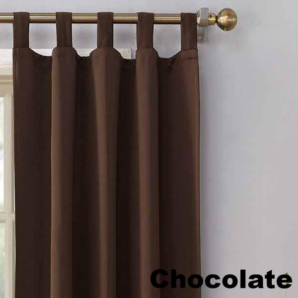 Up close shot Chocolate Sun Zero Shandriah Room Darkening Tab Top Panel fabric showing Tab Top