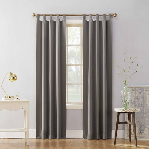 Grey Sun Zero Shandriah Room Darkening Tab Top Panel hanging off from a decorative rod
