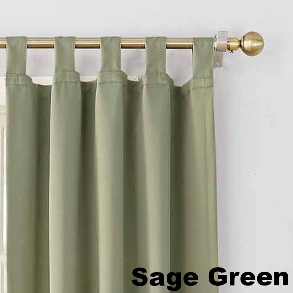 Up close shot Sage Green Sun Zero Shandriah Room Darkening Tab Top Panel fabric showing Tab Top