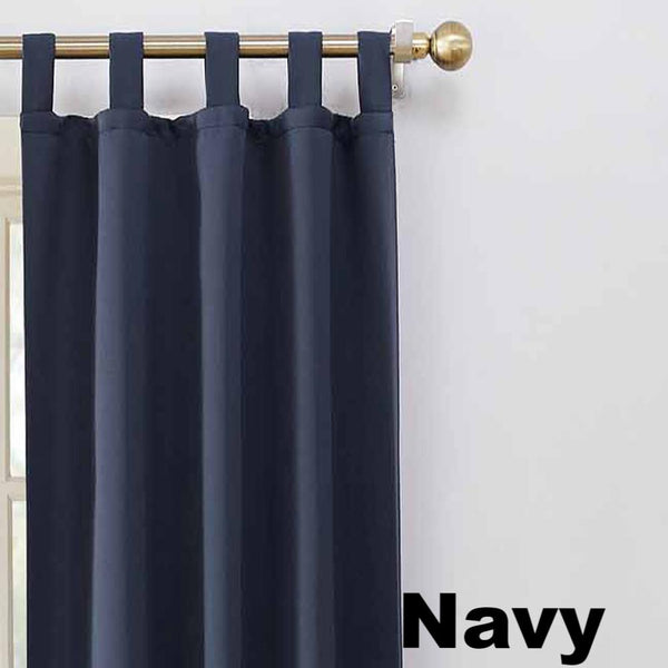 Up close shot Navy Sun Zero Shandriah Room Darkening Tab Top Panel fabric showing Tab Top