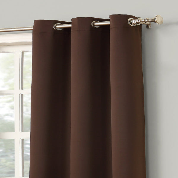 Closeup shot of chocolate Sun Zero Shandriah Blackout Curtain Panel fabric and grommets