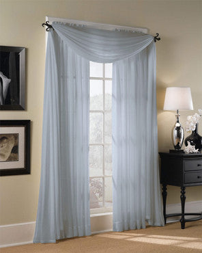 Voile Extra Long Sheer Curtains Panels and Scarf hanging on a decorative rod