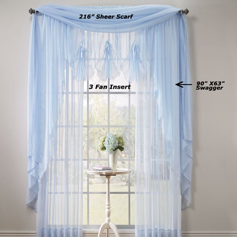 Voile Extra Long Sheer Curtains Panels And Scarf Hc International