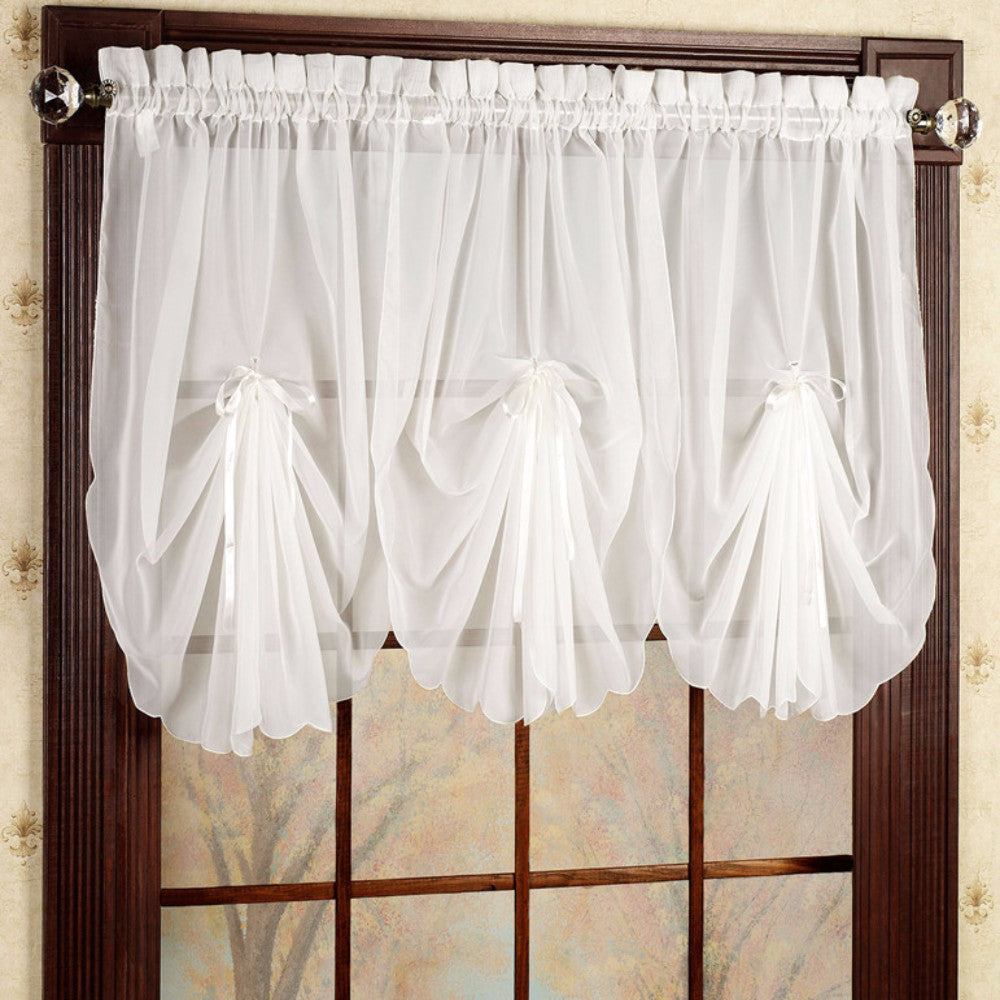 itm sheer cafe panel tier bathroom made voile valance kitchen ready curtain