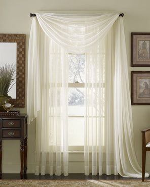 Voile Sheer Curtains and Scarf hanging on curtain rods