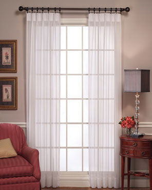 Voile Pinch Pleated Panel Pair Sheer Curtains hanging on a decorative rod