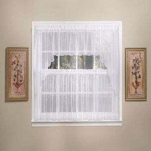 White Sheer Voile Kitchen Valance, Swags and Tier Curtains hanging on a curtain rod