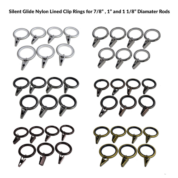 "Silent Glide Nylon Lined 7 Piece Clip Rings for 7/8"" , 1"" and 1 1/8"" Rods"