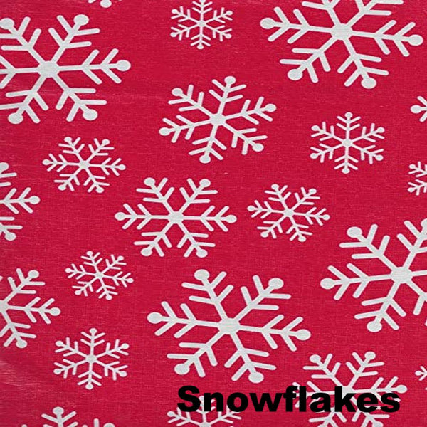 Close up Shot of Lintex Linens Festive Holiday Non-Toxic Vinyl Table Cloth Collection Snowflakes