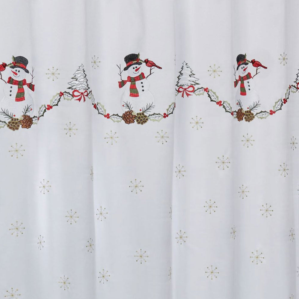 Linen Lorraine Home Fashions: Snowman Fabric Shower Curtain/Lorraine Home Fashions