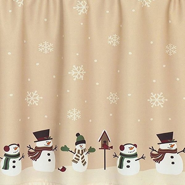 Closeup of Snowman Magic Kitchen Valance and Tier Curtains fabric
