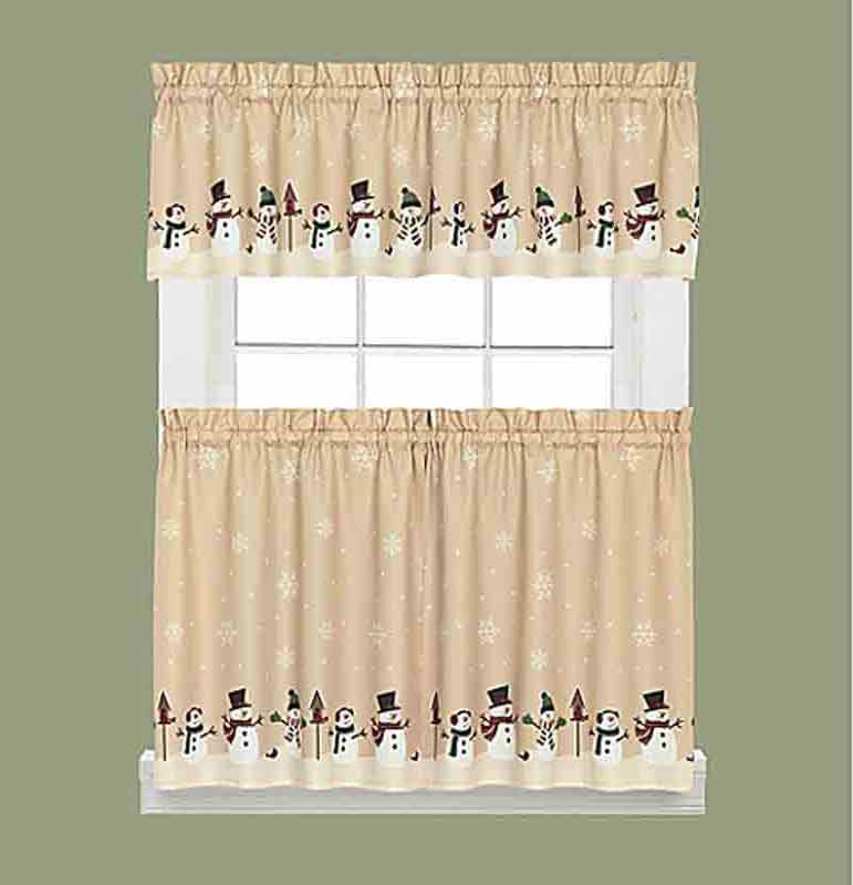 Snowman Magic Kitchen Valance and Tier Curtains hanging on curtain rods
