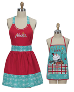 Snowman Sentiments Child and Hostess Apron