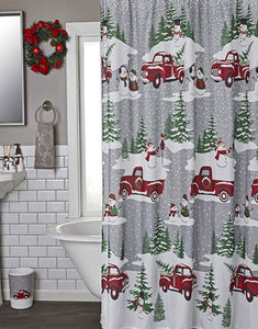 Snowy Truck 13 Piece Shower Curtain & Hook Set