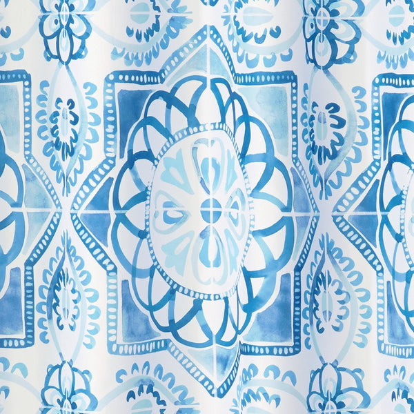 Close up shot of Blue Spanish Tile Fabric Shower Curtain fabric