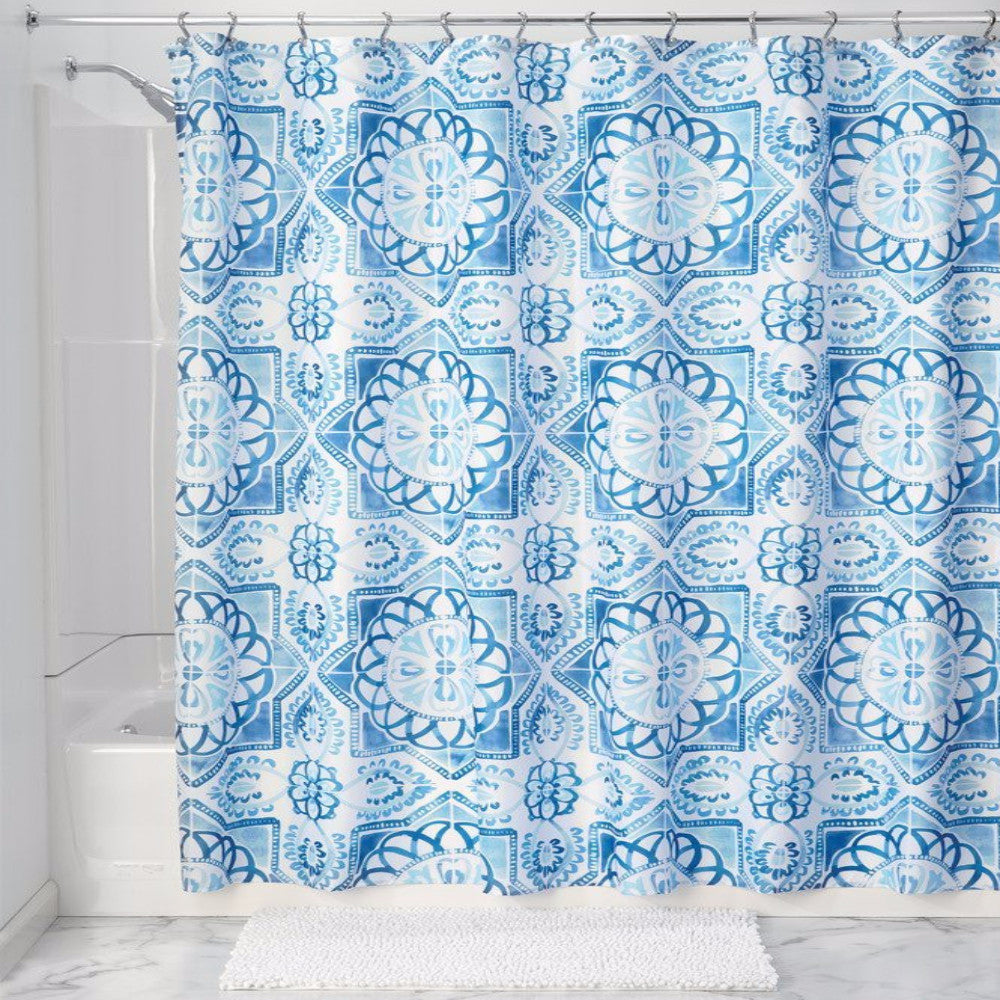 ... Spanish Tile Fabric Shower Curtain Liner Blue Zoom