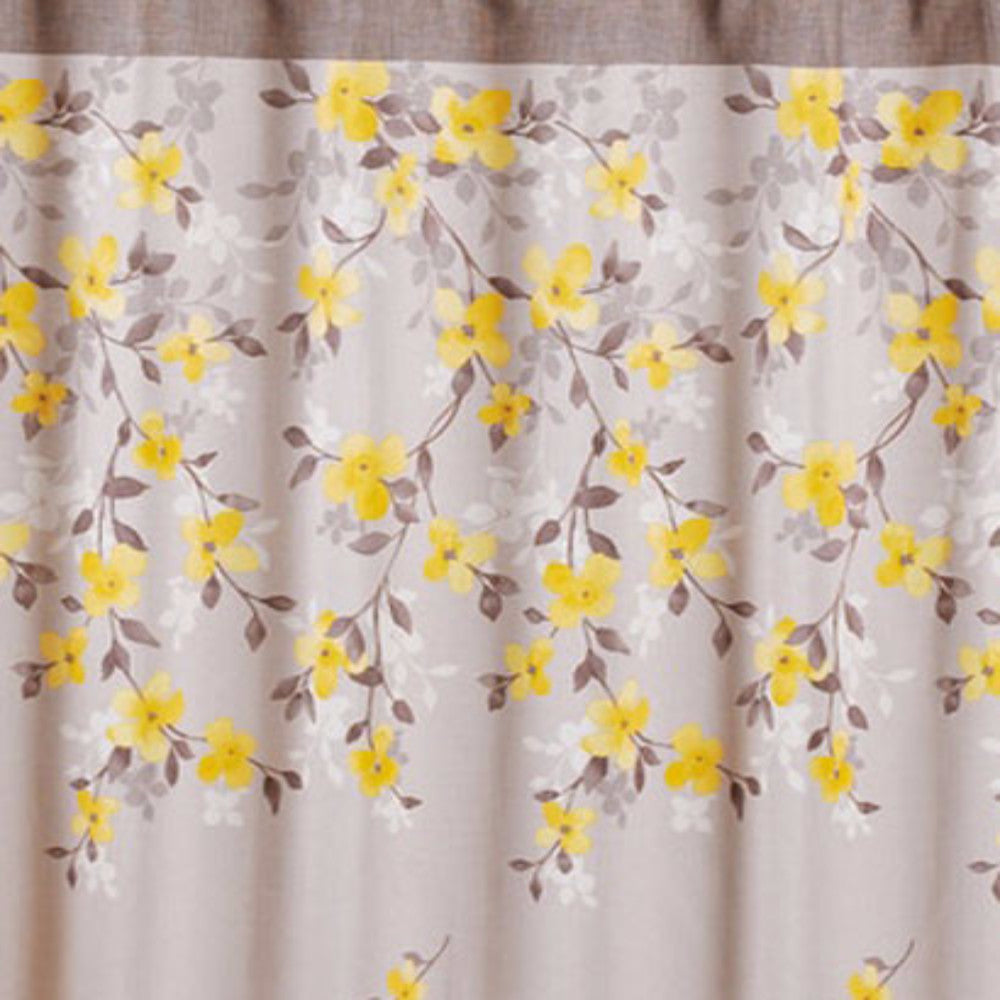 Close Up Shot Of Grey Spring Garden Floral Fabric Shower Curtain