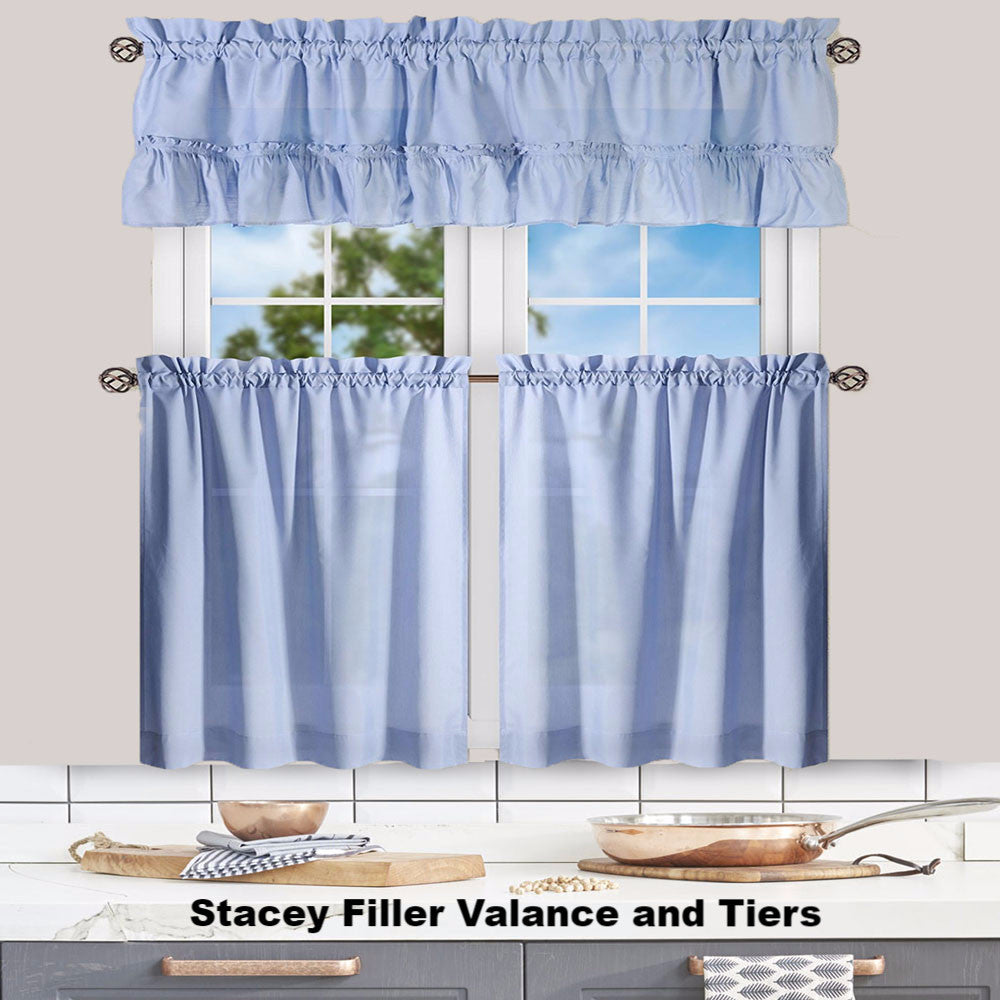 Slate Stacey Kitchen Valance Ruffled Swags And Tier Curtain Hanging On A Rod