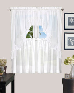 White Stacey Kitchen Valance, Ruffled Swags, and Tier Curtain hanging on a curtain rod