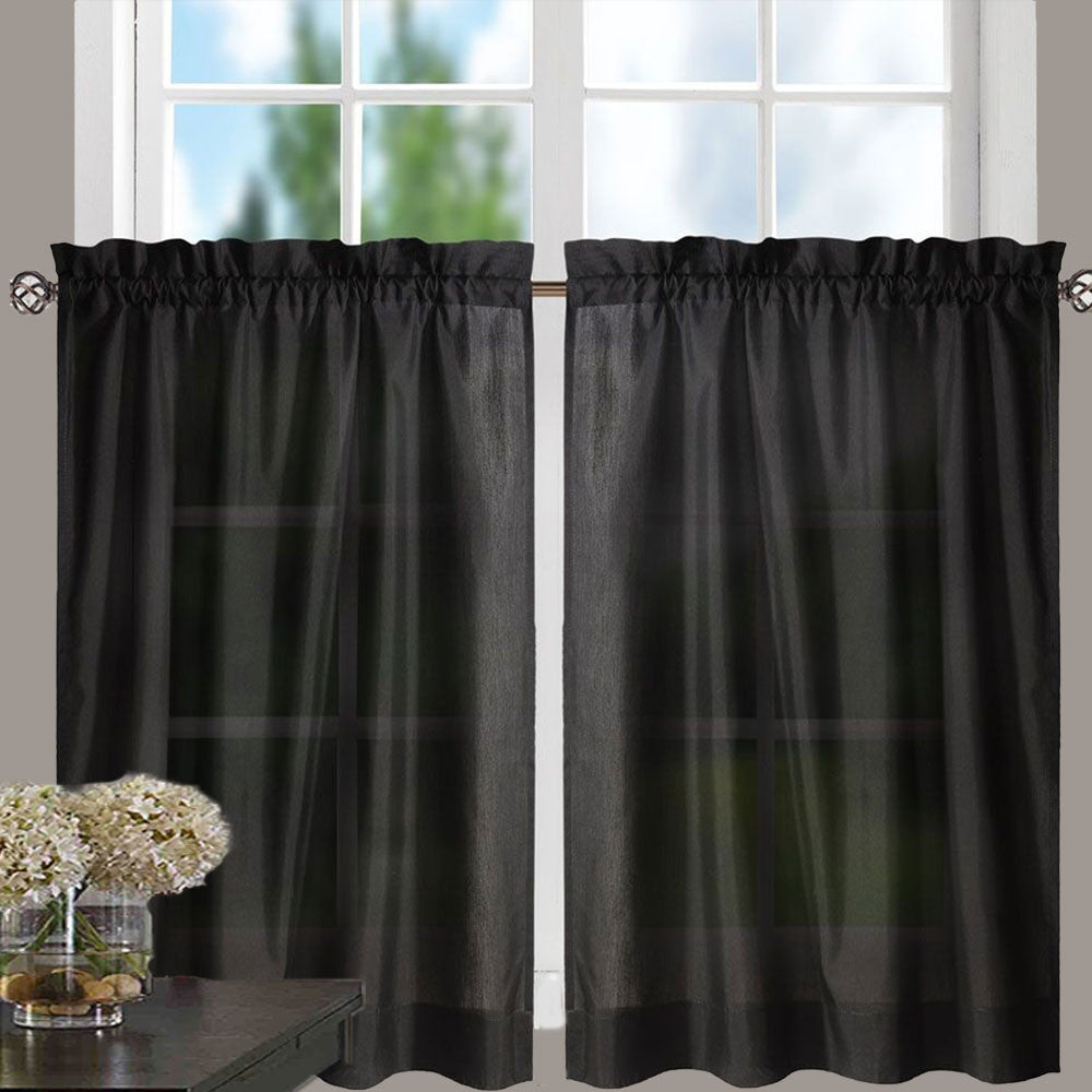 Black ruffle curtains -  Stacey Tier Ruffled Valance And Ruffled Swag Black