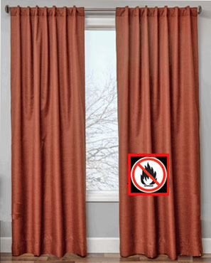 sienna Suite Flame Retardant Back Tab Panel hanging on a decorative curtain rod