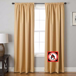 GoldenRod Suite Rod Pocket Fire Retardant Curtains Hanging On A Decorative Curtain