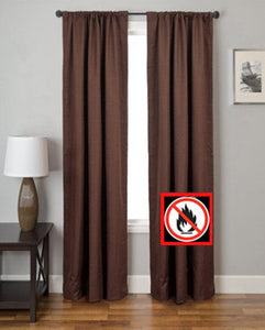 Chocolate Suite Rod Pocket Fire Retardant Curtains hanging on a decorative curtain rod