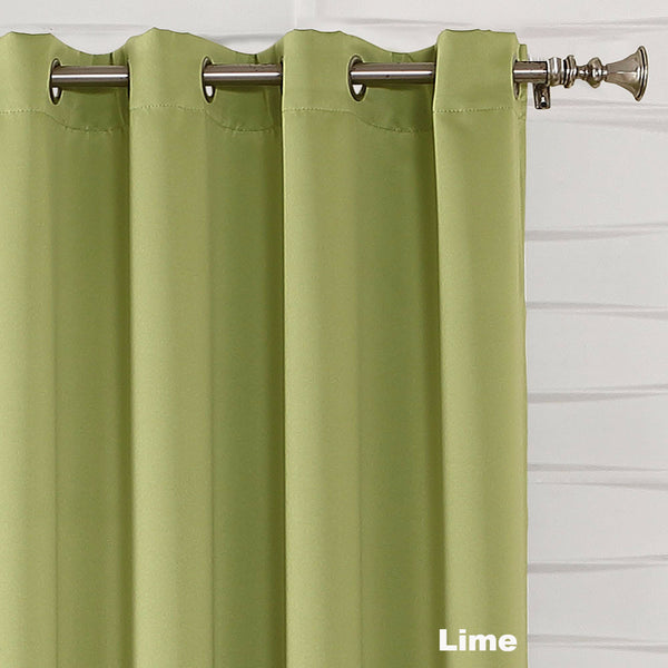 Close up Lime Sun Zero Guiliana Gramercy Room Darkening Grommet Top Panel showing grommets