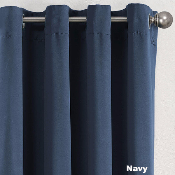 Close up Navy Sun Zero Guiliana Gramercy Room Darkening Grommet Top Panel showing grommets