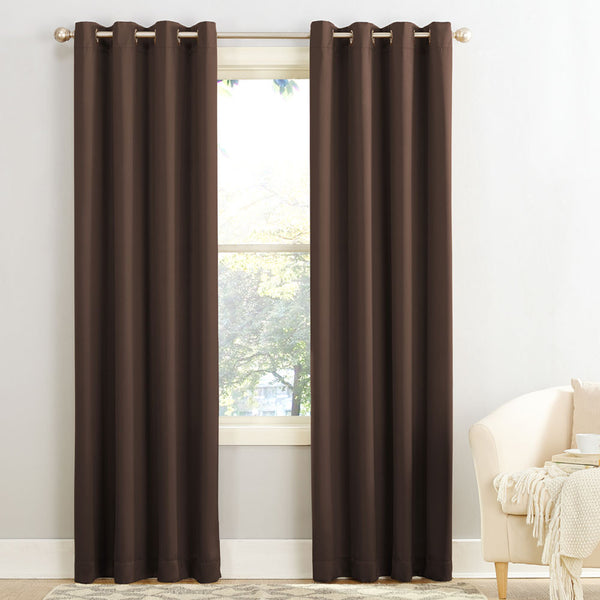 Chocolate Sun Zero Guiliana Gramercy Room Darkening Grommet Top Panel hanging from a decorative rod