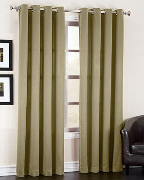 Taupe Sun Zero Guiliana Gramercy Room Darkening Grommet Top Panel hanging on a decorative rod
