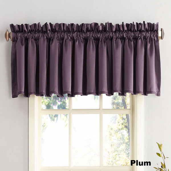 Plum Sun Zero Julian Room Darken Valance hanging from a decorative rod