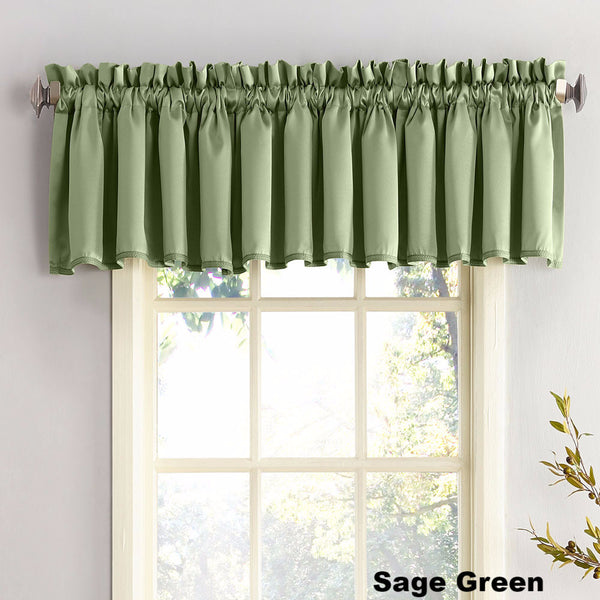 Sage Green Sun Zero Julian Room Darken Valance hanging from a decorative rod
