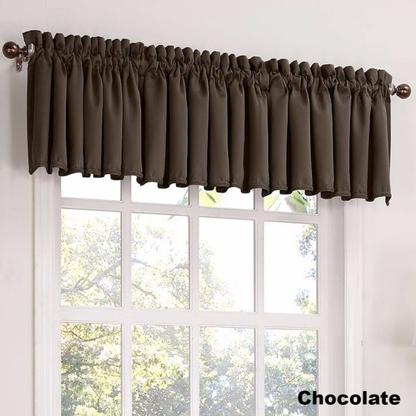 Chocolate Sun Zero Julian Room Darken Valance hanging from a decorative rod