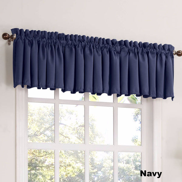 Navy Sun Zero Julian Room Darken Valance hanging from a decorative rod