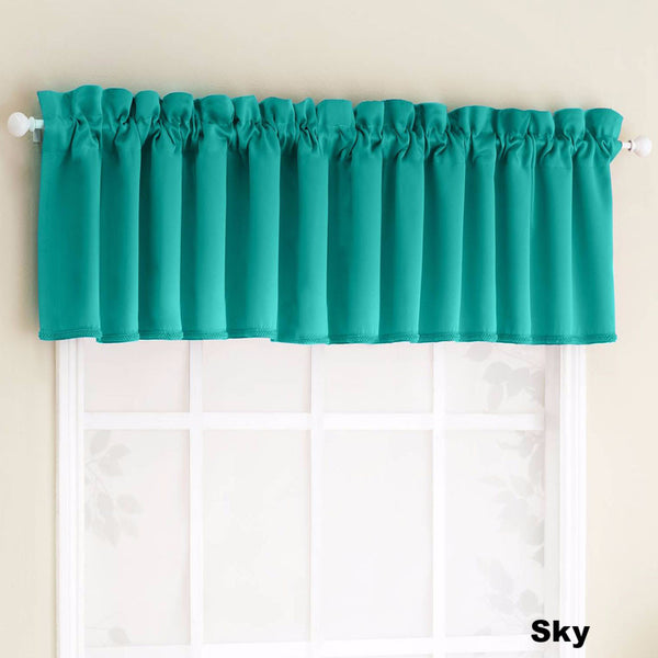 Sky Sun Zero Julian Room Darken Valance hanging from a decorative rod
